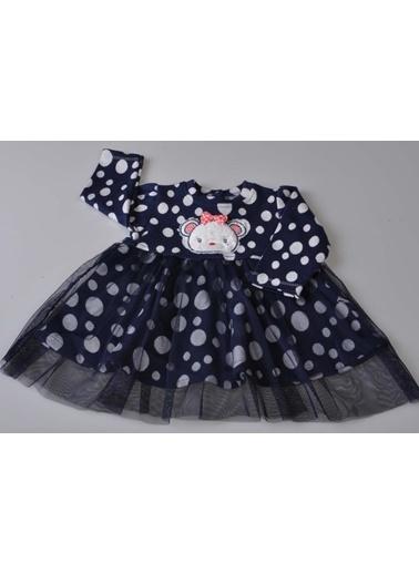 POKY Kız Bebek Ayıcık Figürlü Tüllü Uzun Kollu Elbise Tkm-3010 Lacivert